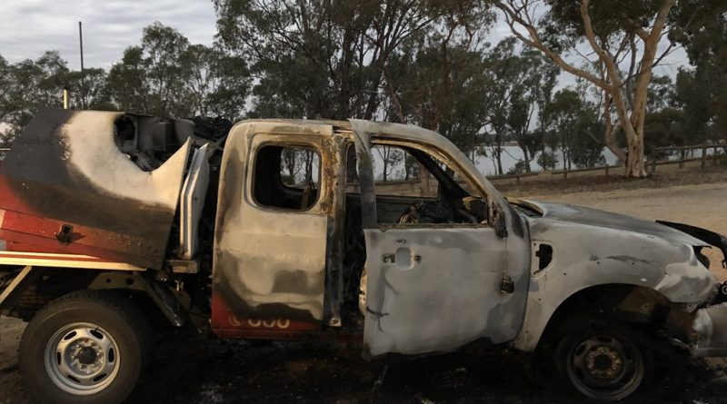 Midland Express Langley-Barfold Fire Brigade's support vehicle was found torched near Lake Eppalock last Wednesday.