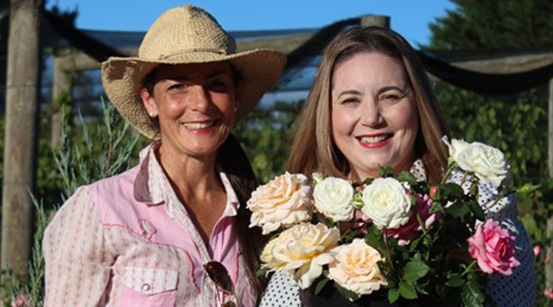 Micro rose and peony farmer Danielle White with author Vanessa Carnevale.