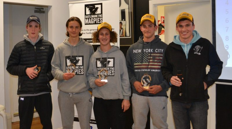 The Under 16 award winners are proudly pictured with coach John Watson.