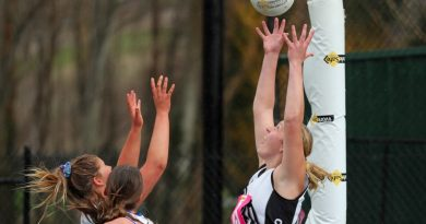 Chloe Langley flies high for the ball against Gisborne. Photo: Peter Banko.