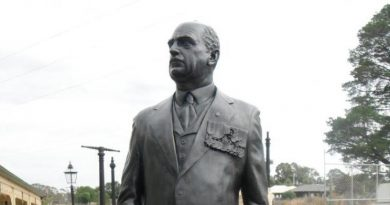 The commemorative sculpture of General Sir John Monash at Billmans Foundry before it left for the Australian War Memorial.