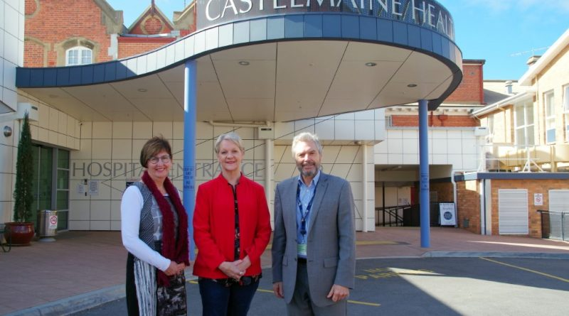 Castlemaine Health's chair of the board Sharon Fraser with Maree Edwards MP and CEO Ian Fisher.