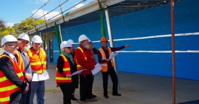 The new multi-purpose pavilion at Wesley Hill Recreation Reserve is on track to be completed before Christmas. Mount Alexander Shire councillors and reserve representatives visited the construction site this week to inspect the building works.
