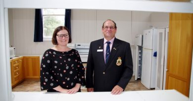 Maldon RSL sub branch president Glenn Miller with Federal Member for Bendigo Lisa Chesters during the MP's visit to announce funding to upgrade the RSL's kitchen.