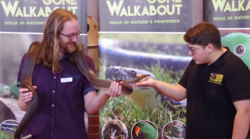 Stuart Winser from the Castlemaine Library with Jake the Olive Python and Adrian Black from Wildlife Gone Walkabout at the Castlemaine Library.