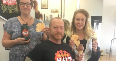 Icecream Social's Rosie Annear, Jeremy Forbes of HALT and Gemma Archer of The Maine Barber celebrate their sweet new partnership.