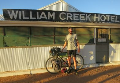 Lachlan Hough is pictured outside the William Creek Hotel.