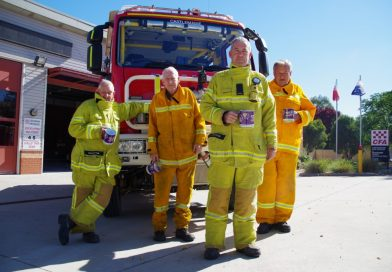 Castlemaine Fire Brigade members Bill Chapman, Ian Franklin, Ron Gartside and captain Terry Franklin will be among those shaking collection tins for this year's Good Friday Appeal.