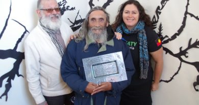 Uncle Rick Nelson with Vic Say and Kathryn Coff at Castlemaine Community House.
