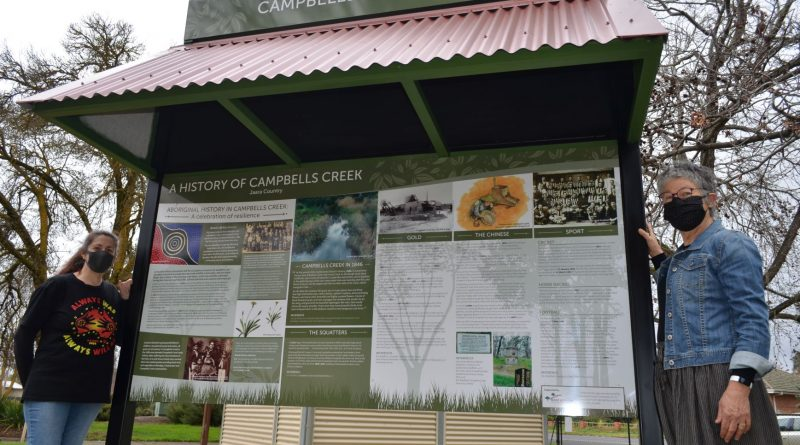 Jaara elder Aunty Kerri Douglas and Campbells Creek Inc History and Heritage Group member Kerin Zable-Brown are pictured with the newly installed history board.