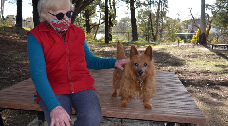 Pamela and 'Megsy' enjoy their first visit to the Wesley Hill Dog Park on Wednesday.