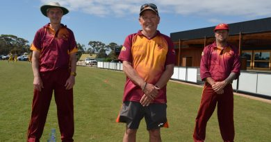Maiden Gully Marist A Grade captain Craig Green, president Neil Byers and A Grade coach Dallas Gill are pictured on their new look ground at Saturday's opener.