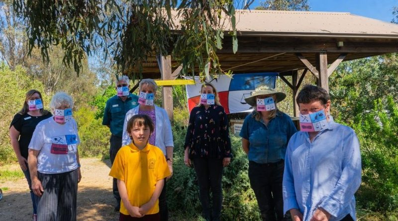 The small crowd at the Monster Meeting website launch donned unique MM flag face masks over their regular face masks for the celebratory event. Photo courtesy of Chewton Chat