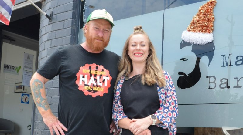 HALT founder Jeremy Forbes with The Maine Barber's Gemma Archer are spreading a little cheer after a challenging year.