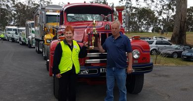 Rotary Club president Christine Barkla is pictured with Owen Leech and his 1966 International R200 which won 'Best Presented'.